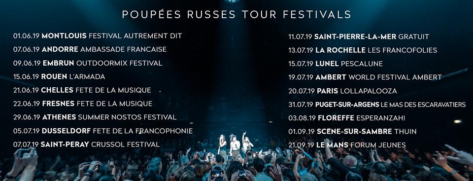 l.e.j poupées russes tour festivals 2019