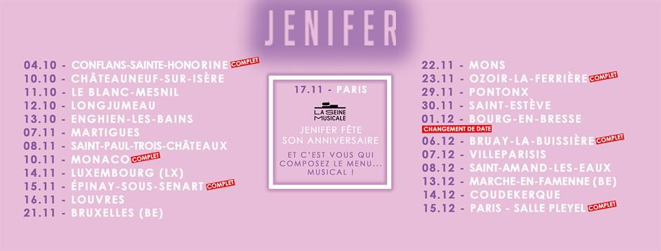 jenifer tournée nouvelle page fin 2019