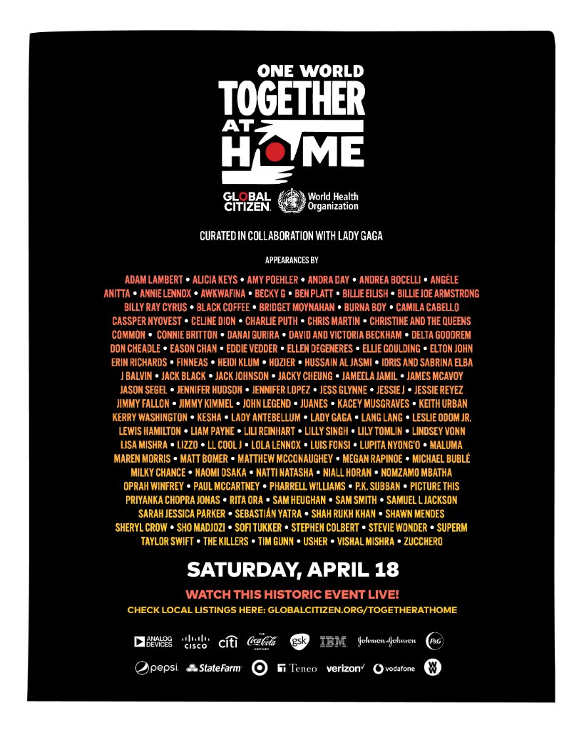 one world together at home online festival poster