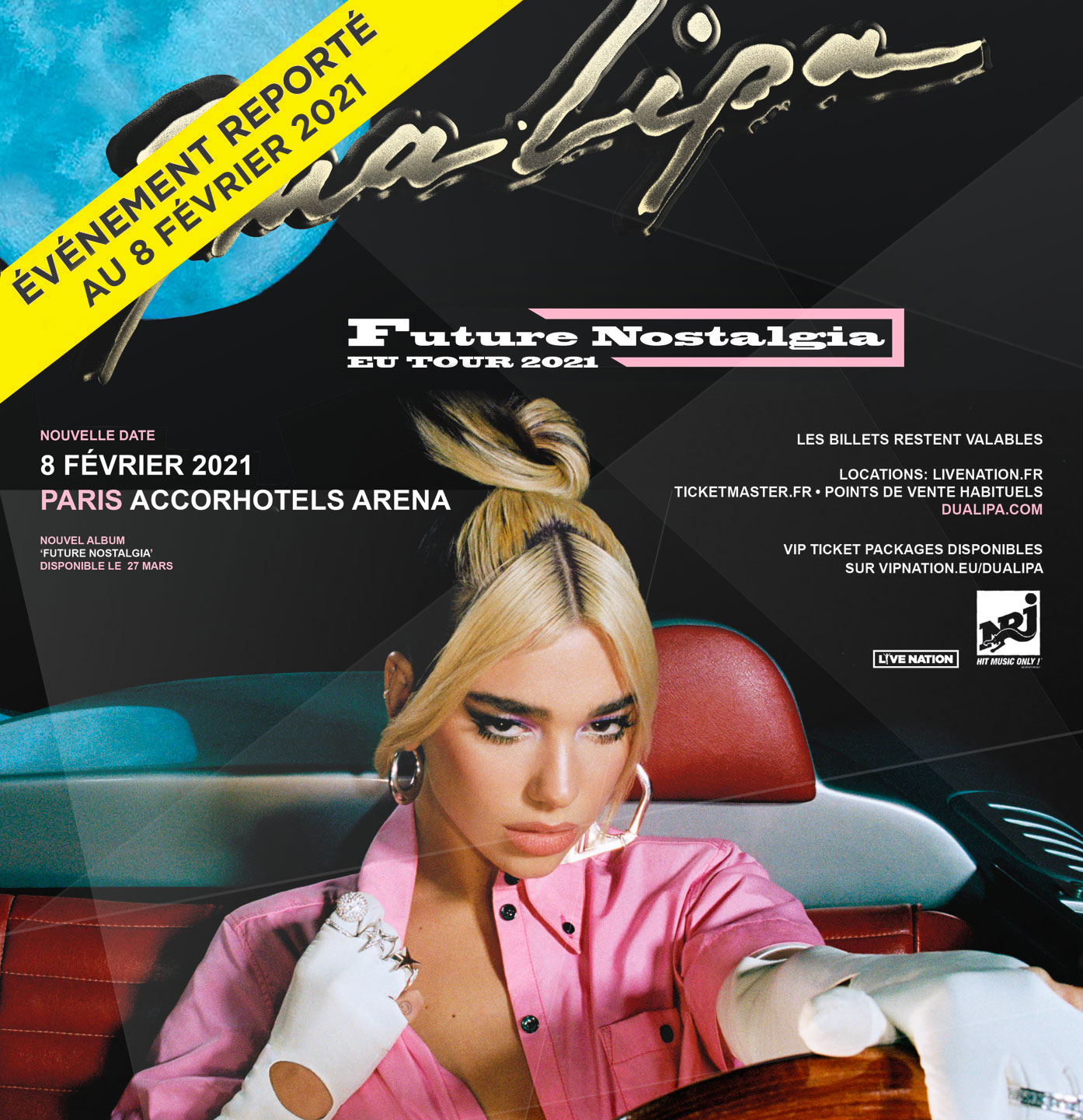 dua lipa future nostalgia tour 2021 paris accorhotels arena
