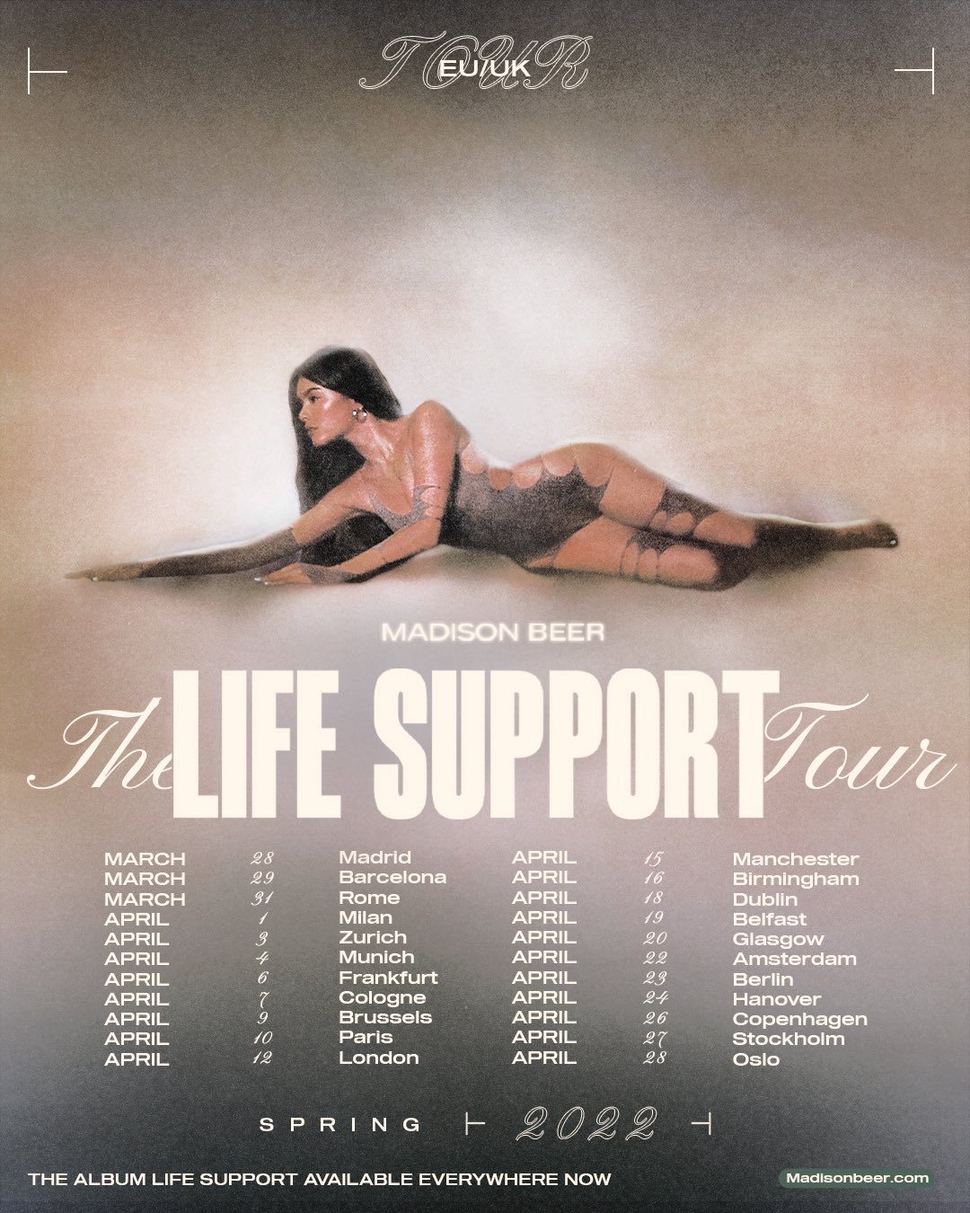 madison beer life support tour 2022 europe